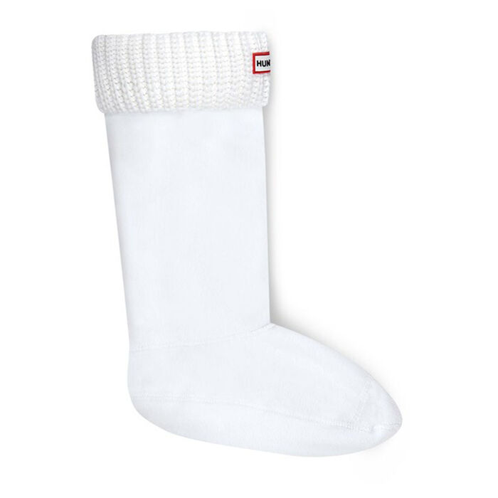 Women's Half Cardigan Stitch Boot Socks (White)