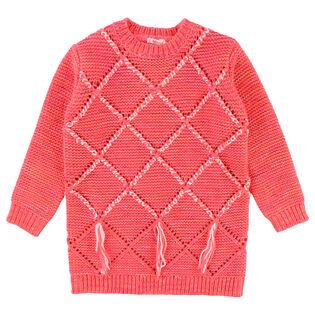 Robe-chandail en tricot avec pompons pour filles [3-8]