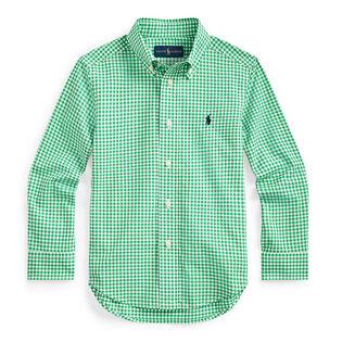Chemise en popeline de coton à motif guingan pour garçons [5-7]