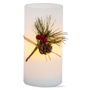 "Greenery Flameless LED Pillar Candle (6"")"