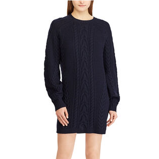 Women's Aran-Knit Wool Sweater Dress