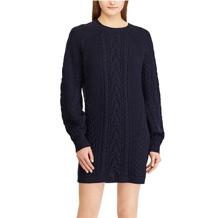 6e76b344e Women s Aran-Knit Wool Sweater Dress