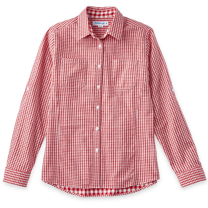 Chemise à motif guingan pour femmes