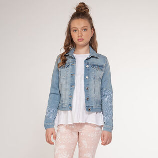 Junior Girls' [7-14] Embroidered Denim Jacket