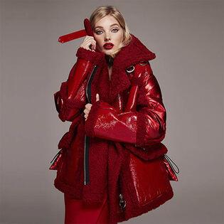 Manteau bouffant Montaigne avec fourrure de mouton pour femmes