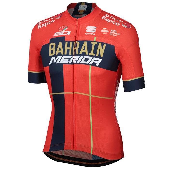 Jersey Bahrain Merida 2019 Body<FONT>Fit</FONT> Team pour hommes