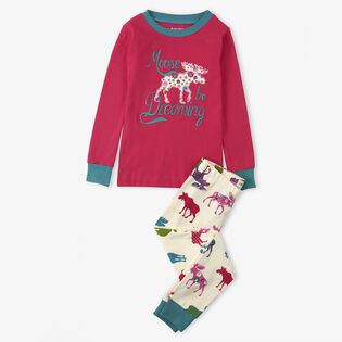 Girls' [2-10] Moose Be Dreaming Two-Piece Pajama Set