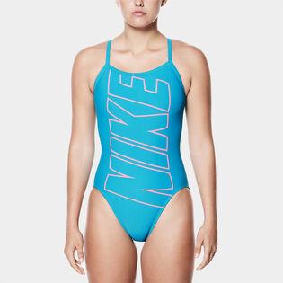 Maillot de bain une pièce à dos nageur et logo pour femmes