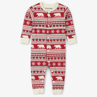 Babies' [3-24M] Fair Isle Bear Union Suit
