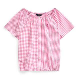 Junior Girls' [7-16] Mixed-Gingham Cotton Top