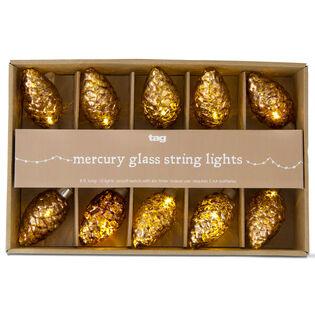 Mercury Glass Pinecone LED String Lights