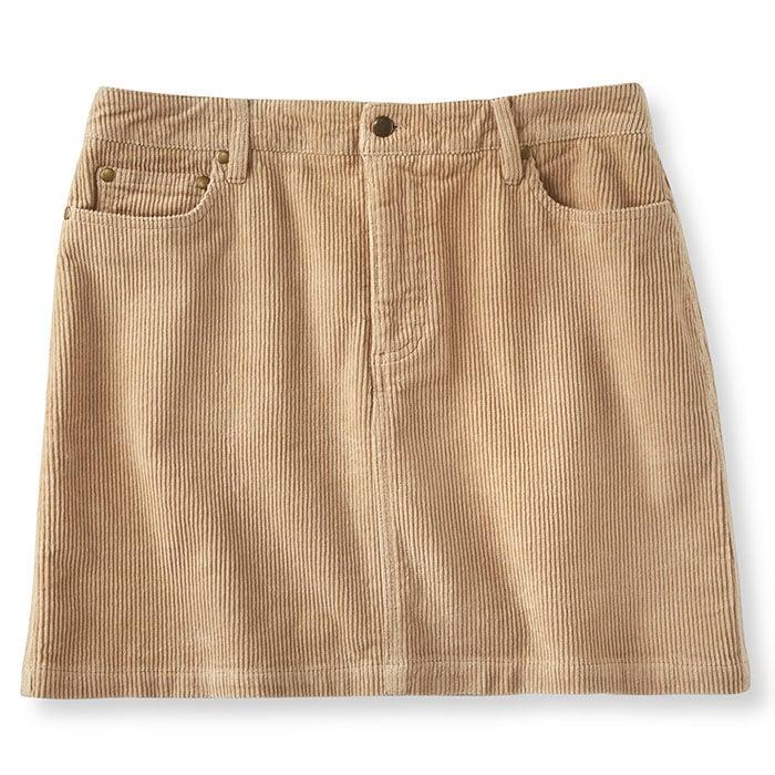 Jupe courte en velours côtelé pour femmes