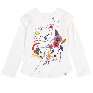 Girls' [3-6] Koala Pompom T-Shirt