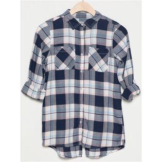 Junior Girls' [7-16] Split Hem Plaid Shirt