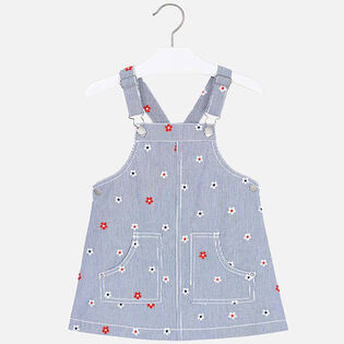 Girls' [3-6] Embroidered Overall Dress