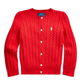 Girls' [5-6X] Cable Knit Cotton Cardigan