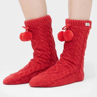 Women's Pom Pom Fleece Lined Crew Sock