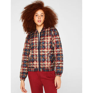 Women's Quilted Check Bomber Jacket