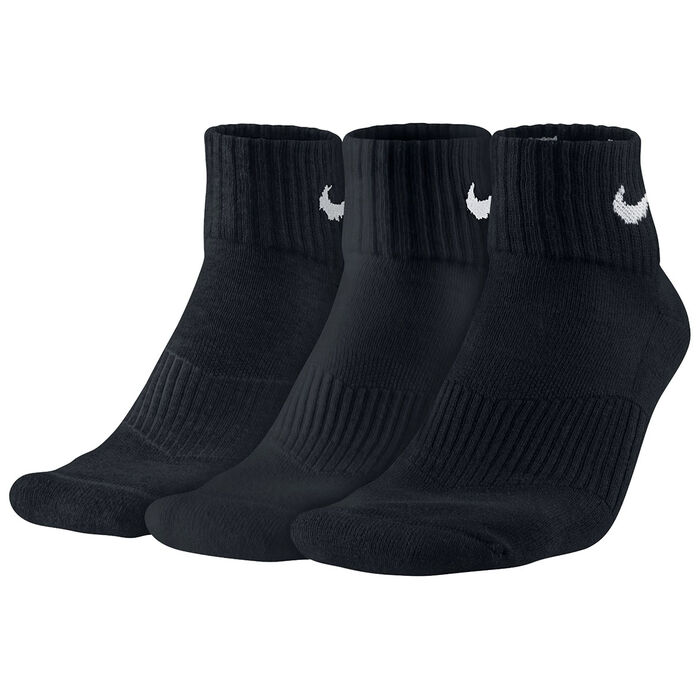 Women's Cotton Cushion Quarter Socks [3 Pack] (Black)