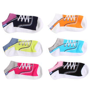 Junior Girls' Lurex Champion Low Show Sock (6 Pack)