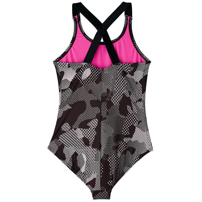 cb92dbc507 Junior Girls' [7-16] Optic Camo Crossbcak One-Piece Swimsuit   Nike ...