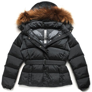 Junior Girls' Belted Down Fur Coat