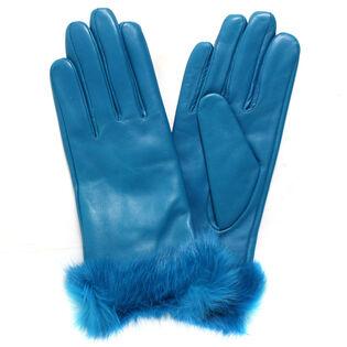 Women's Colour Fur Leather Glove