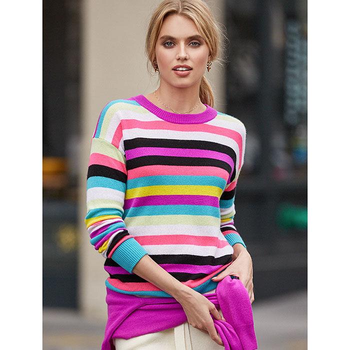 Women's Cashmere Multi-Stripe Sweater