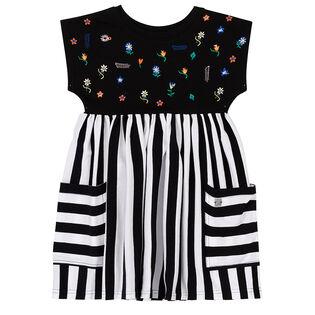 Girls' [3-6] Floral Striped Dress