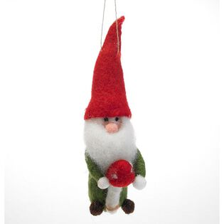 Gnome With Mushroom Ornament