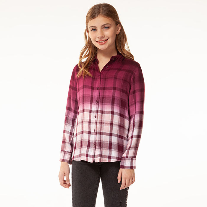 Junior Girls' [7-14] Ombre Plaid Shirt