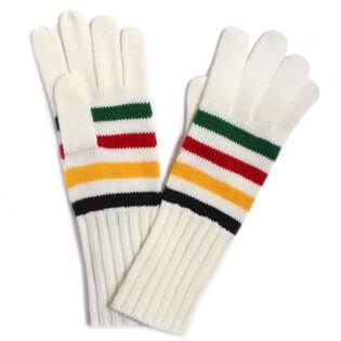 Striped Wool-Blend Gloves [Cream]