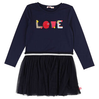 Girls' [3-8] Jersey Tulle Dress