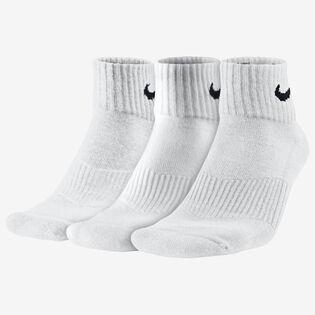 Chaussettes en coton Cushion Quarter pour hommes [3 paires] (blanches)
