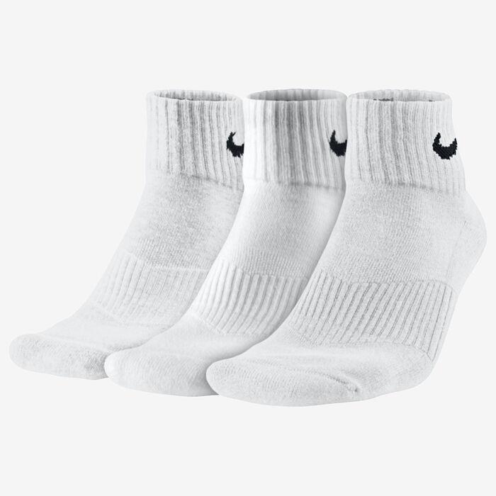 Men's Cotton Cushion Quarter Socks [3 Pack] (White)