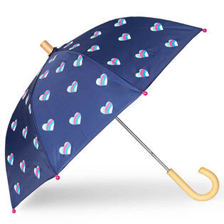 Kids' [2-10] Striped Hearts Umbrella