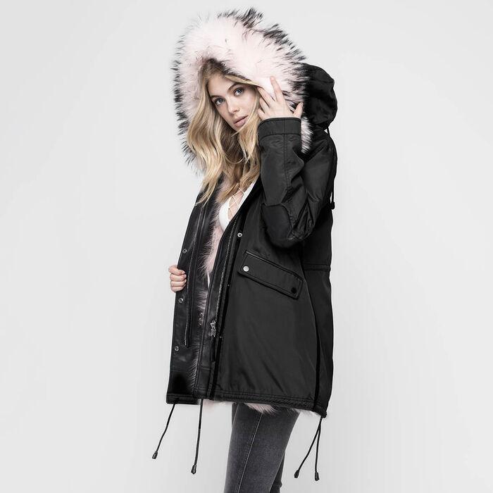 Manteau réversible doublé de fourrure Belleville pour femmes
