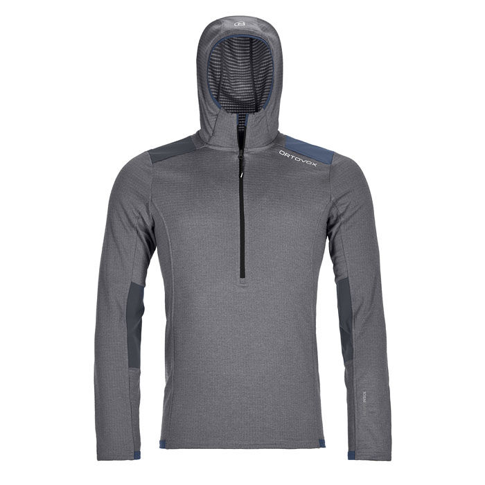 Men's Fleece Light Grid Zip Neck Hoodie