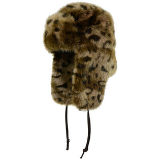 Women's Faux Fur Leopard Aviator Hat