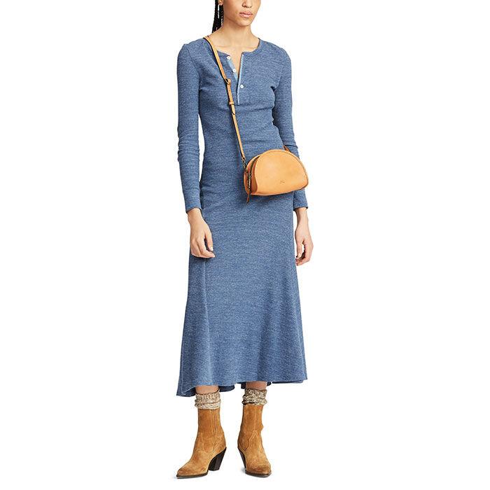 Robe henley longue en tricot gaufré pour femmes