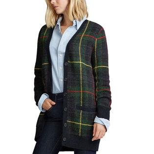 Cardigan à carreaux en mélange de laine pour femmes