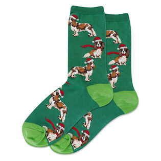 Women's Santa Dog Crew Sock