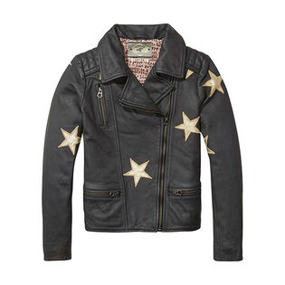 Junior Girls' [8-14] Star Leather Biker Jacket