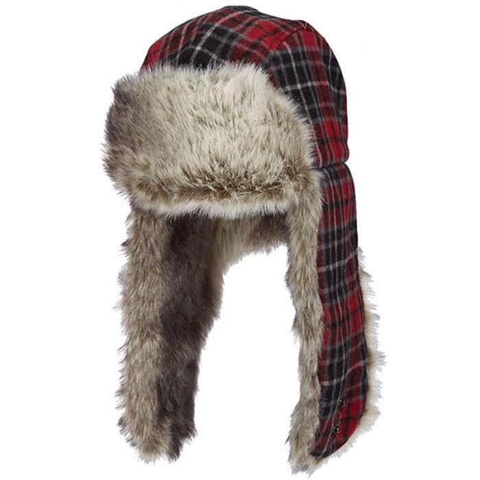 Unisex Hunt Trapper Plaid Wool Hat