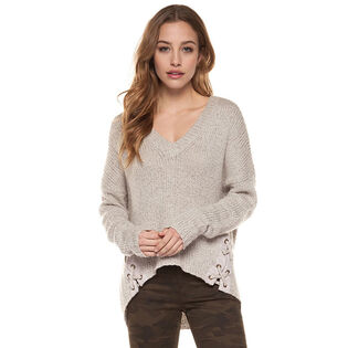 Women's Lace-Up Knit Sweater