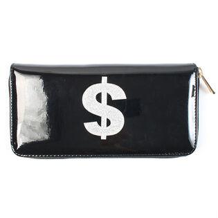 Portefeuille à motif scintillant et symbole dollar