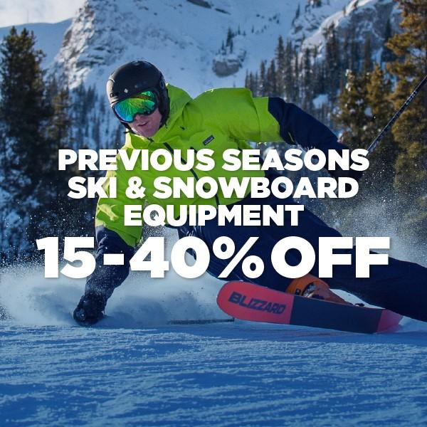 Previous Seasons Ski & Snowboard Equipment - 15-40% Off