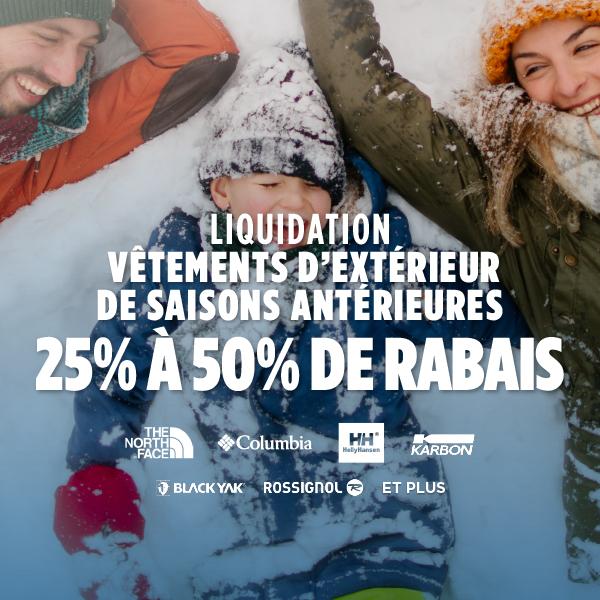 Liquidation de vêtements d'extérieur d'hiver des saisons précédentes - 25-50% de rabais