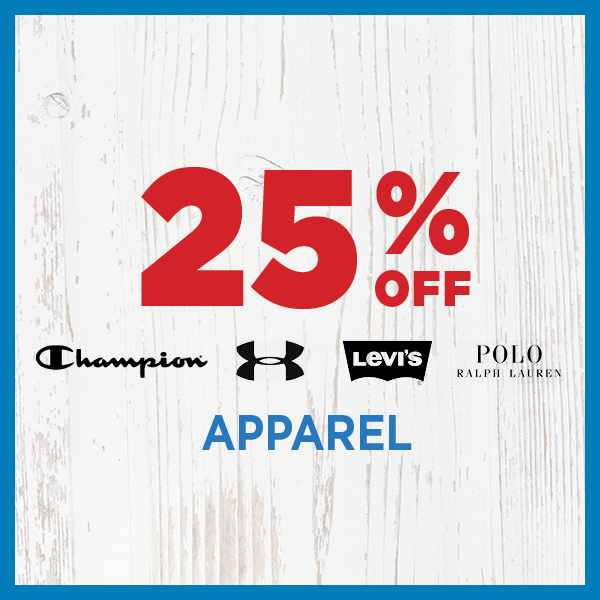 25% Off Champion, Under Armour, Levi's & Polo Ralph Lauren