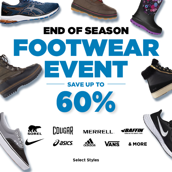 End of Season Footwear Event Up to 60% Off